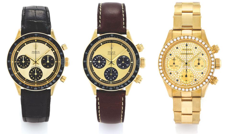 3 Rolex Cosmograph Daytona gold