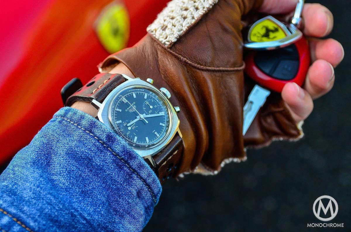 Weekly Watch Photo: Heuer Camaro + Monochrome Rally Strap + Ferrari 599 GTB