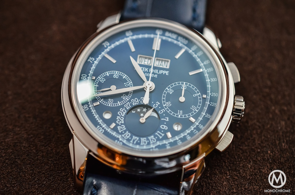 Patek philippe 5270 perpetual calendar chronograph blue hands on with live photos specs and for Patek philippe