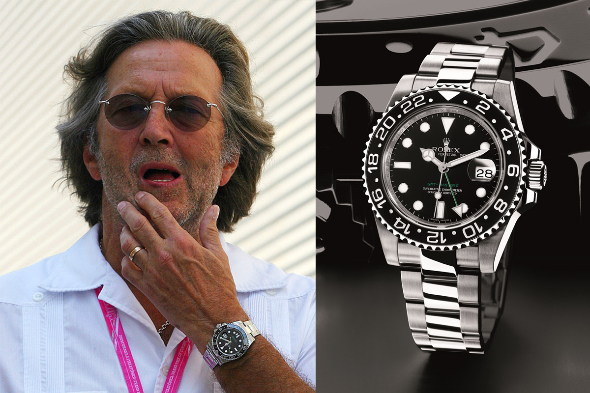 Watching celeb watches eric clapton monochrome watches for Celebrity wearing rolex watches