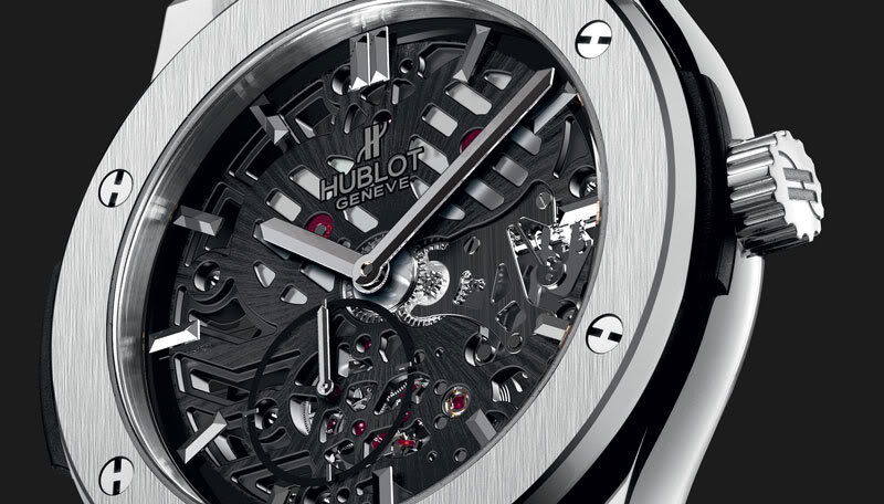 Baselworld hublot classic fusion extra thin skeleton monochrome watches for Classic skeleton watch