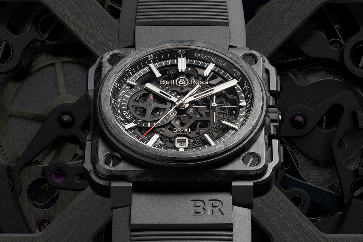 x perimental bell ross br x1 skeleton chronograph carbon forg monochrome watches. Black Bedroom Furniture Sets. Home Design Ideas