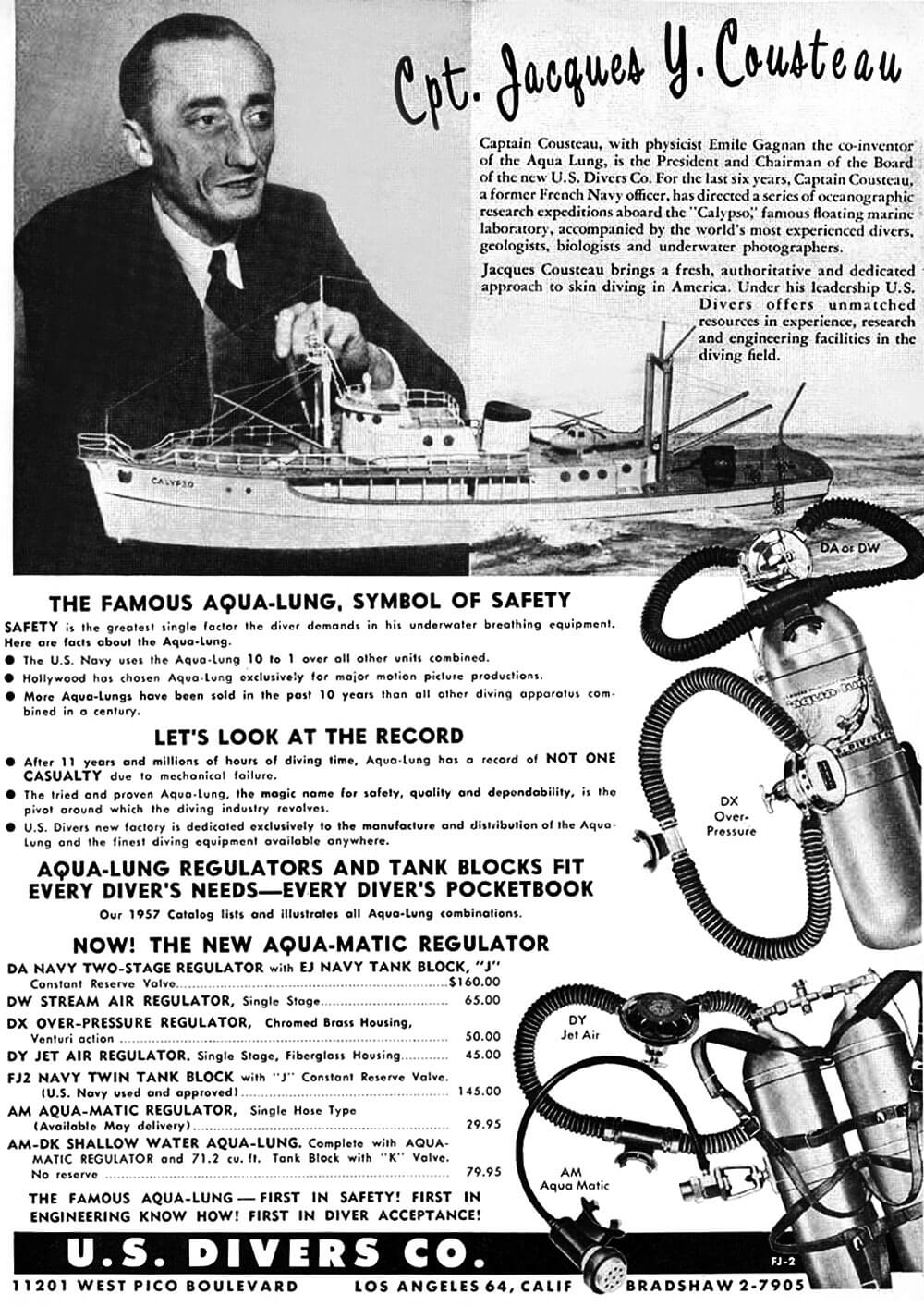 1958 Jacques Yves Cousteau Aqua Lung Ad