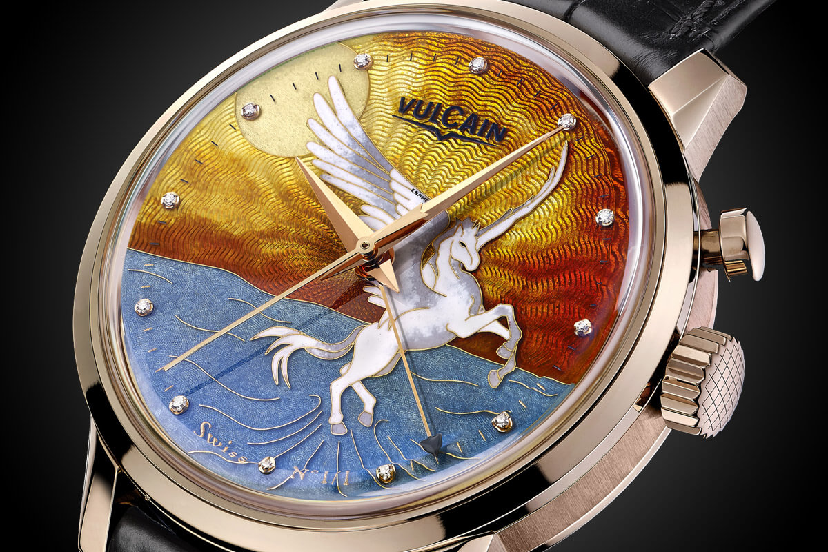 Vulcain 50s President Cloisonne Grand Feu Only Watch Pegasus - 4