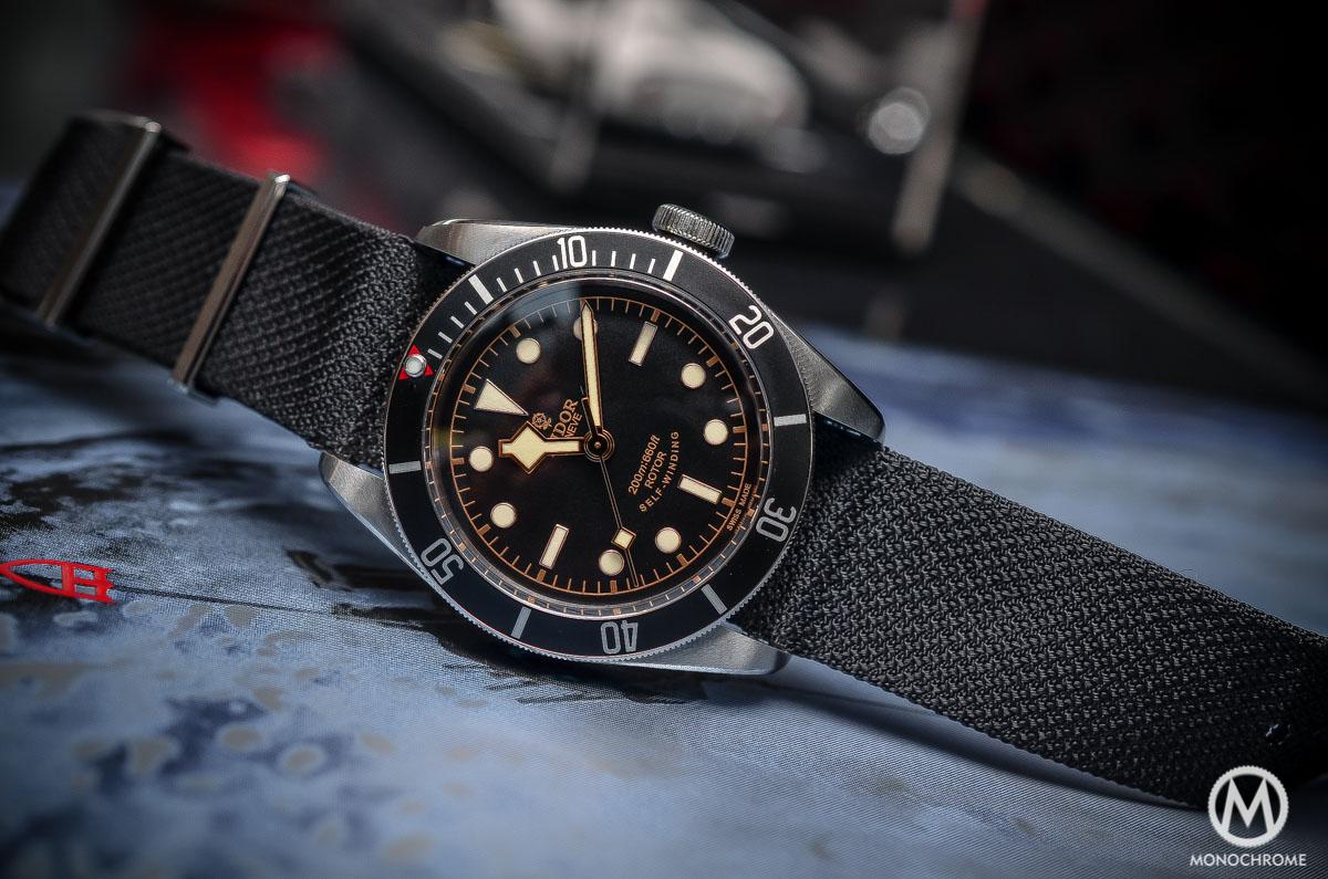 Tudor Black Bay Black Bezel 79220N - case on fabric NATO