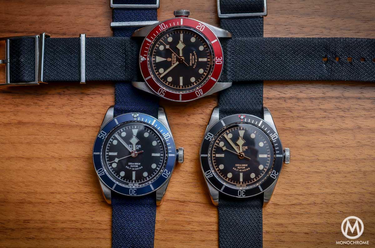 Tudor Black Bay collection - Black Bezel 79220N - Blue Bezel 79220B - Red Bezel 79220R bis