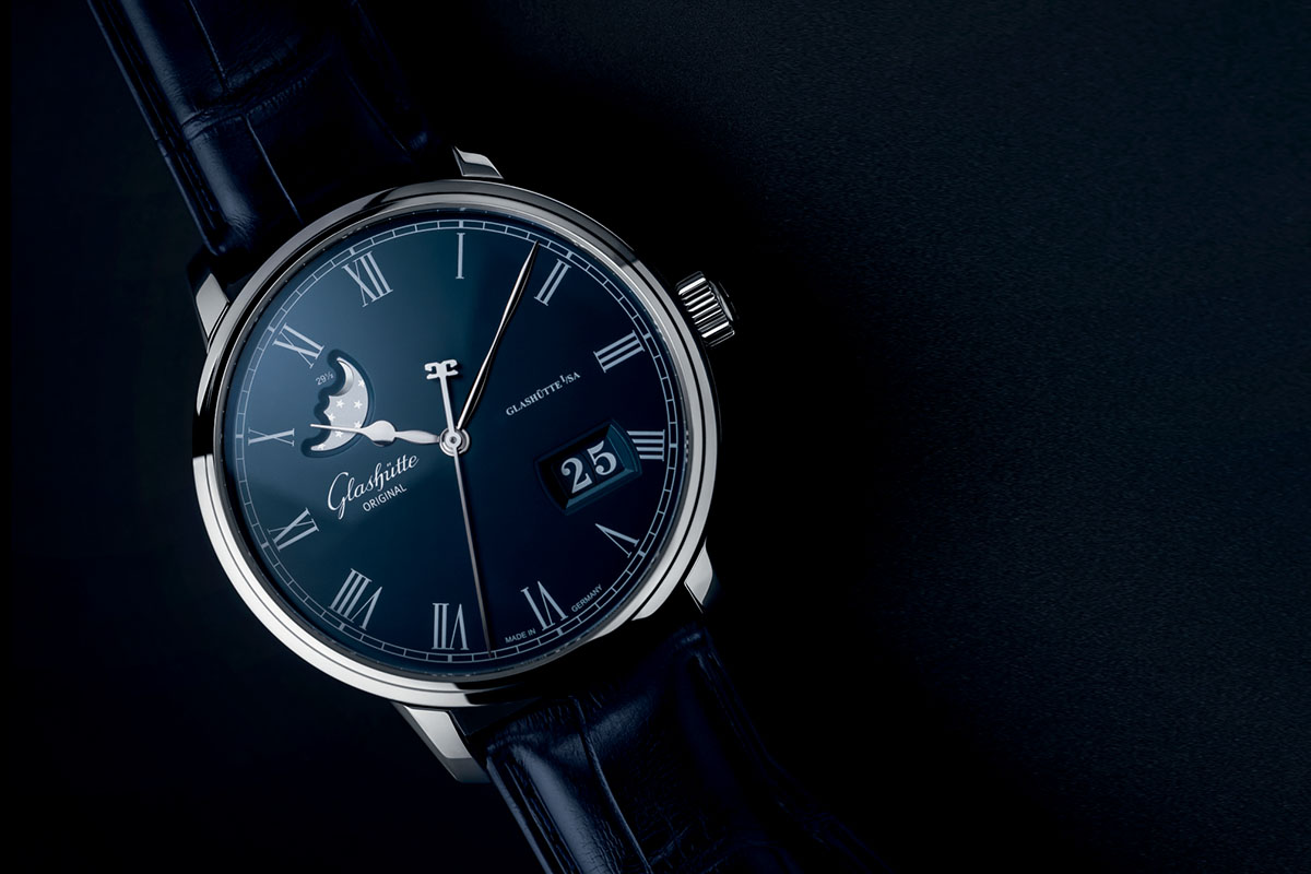 Glashuute Original Senator Panorama Date Moon Phase Boutique Edition Blue Dial
