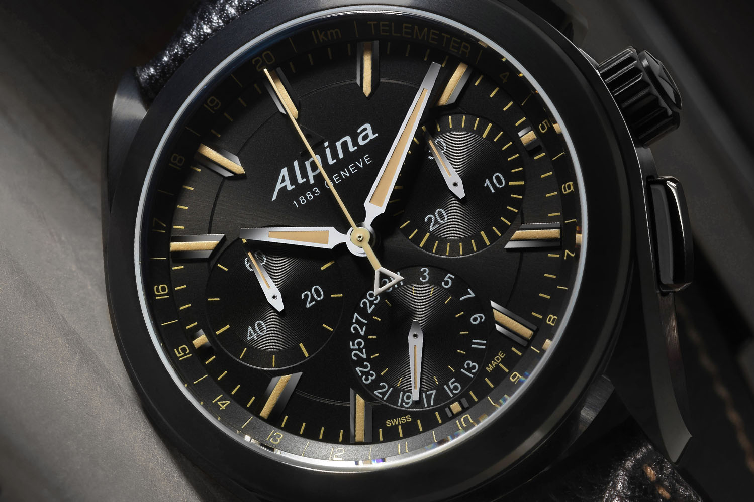 Alpina Watches Alpiner Manufacture Flyback Chronograph Full Black - Alpina watches price