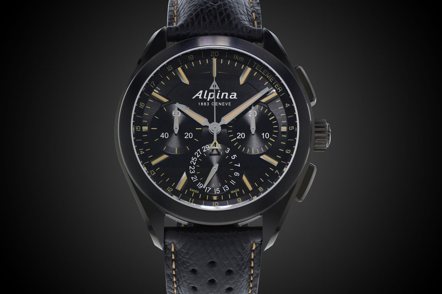 Alpina Watches Alpiner Manufacture Flyback Chronograph Full Black - Buy alpina watches