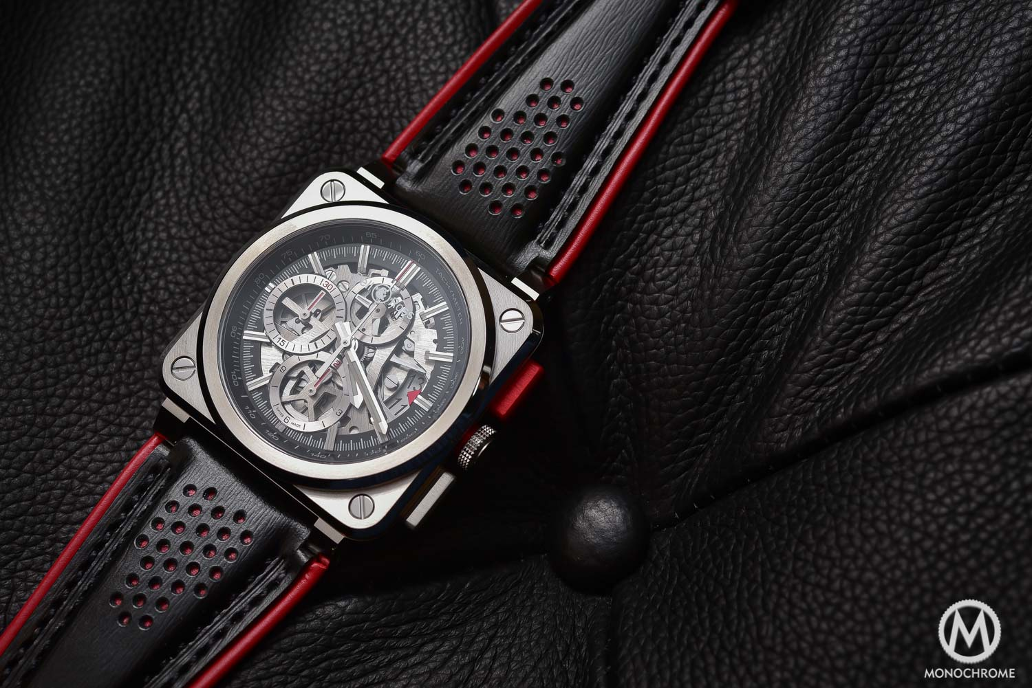 techframe chronograph car auto watches tourbillon from ferrari racing inspired hublot monochrome baselworld