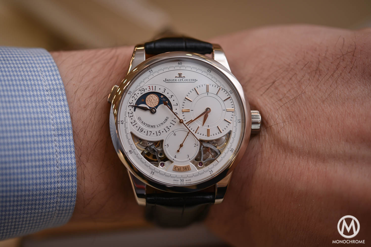 Hands-on – Jaeger-LeCoultre Duometre Quantieme Lunaire in white gold and opened dial (live pics, specs & price)