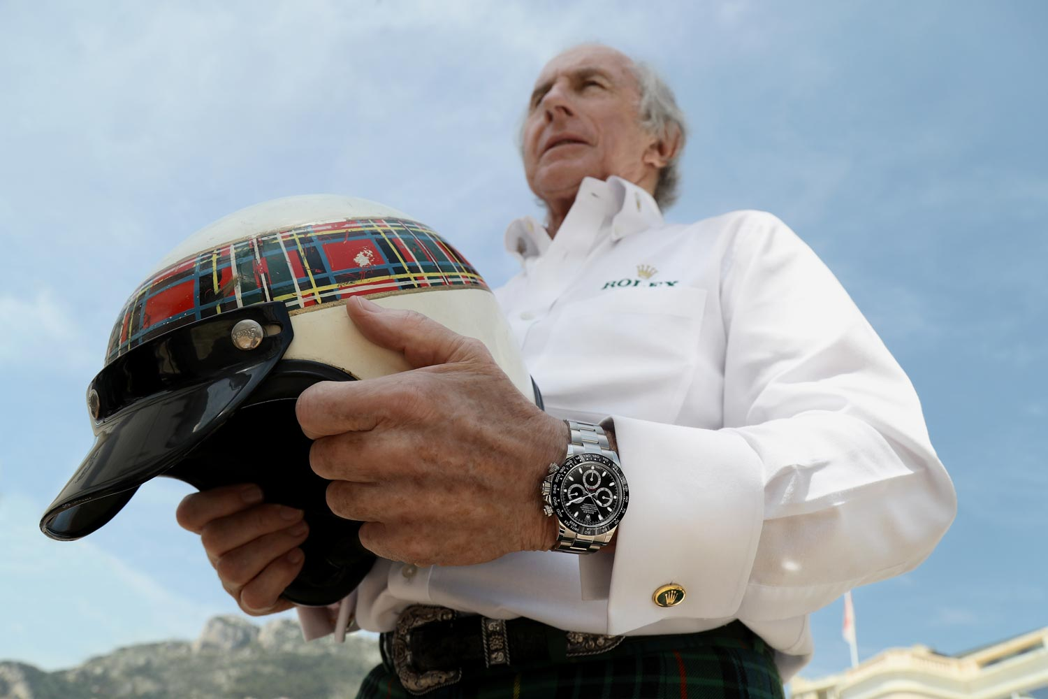 Sir Jackie Stewart wearing his new Rolex Daytona