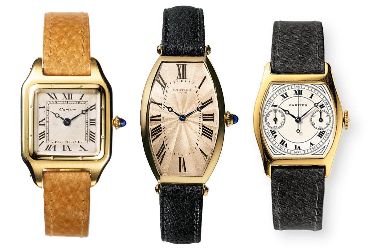 Cartier vintage watches - Cartier Santos Dumont 1904 - Cartier Tonneau 1908 - Cartier Tortue Monopoussoir 1928