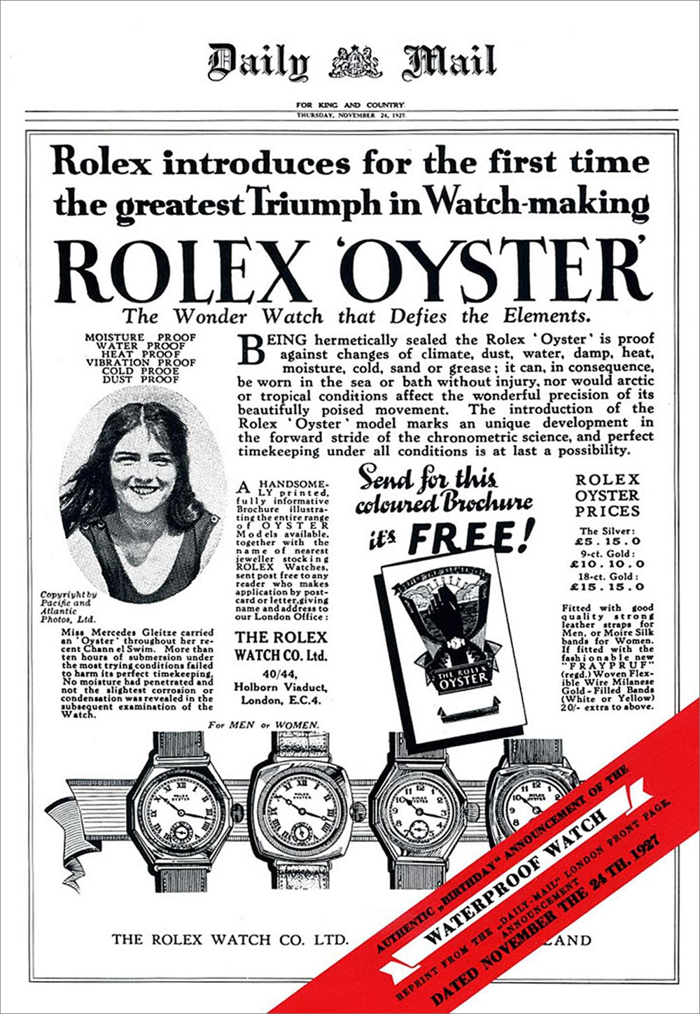 Rolex advertorial in the Daily Mail - 1927