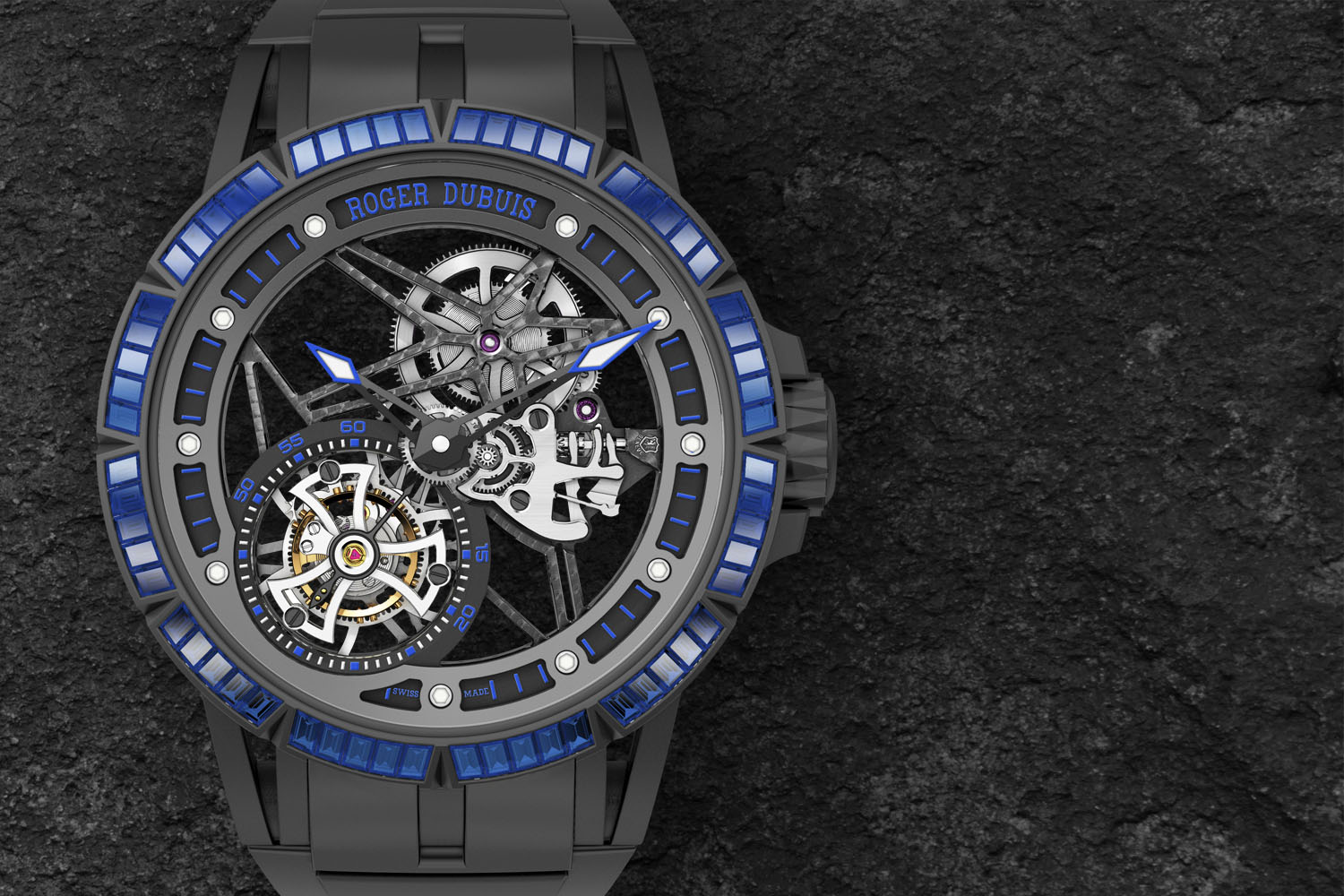 Roger Dubuis Excalibur Spider Skeleton Flying Tourbillon - colored stones rubber bezel