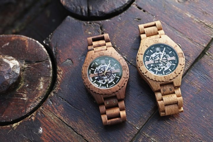 Lumbr Troy Wood Watch with visible Automatic movement