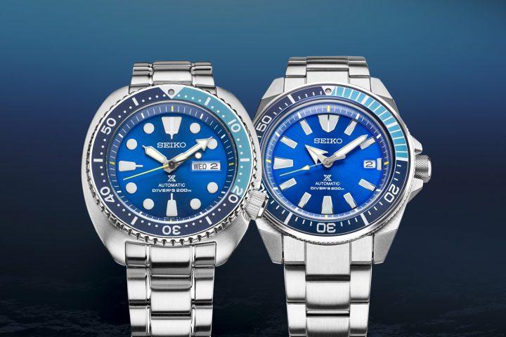Seiko Prospex Turtle SRPB11 and Samurai SRPB09 Blue Lagoon Limited Editions