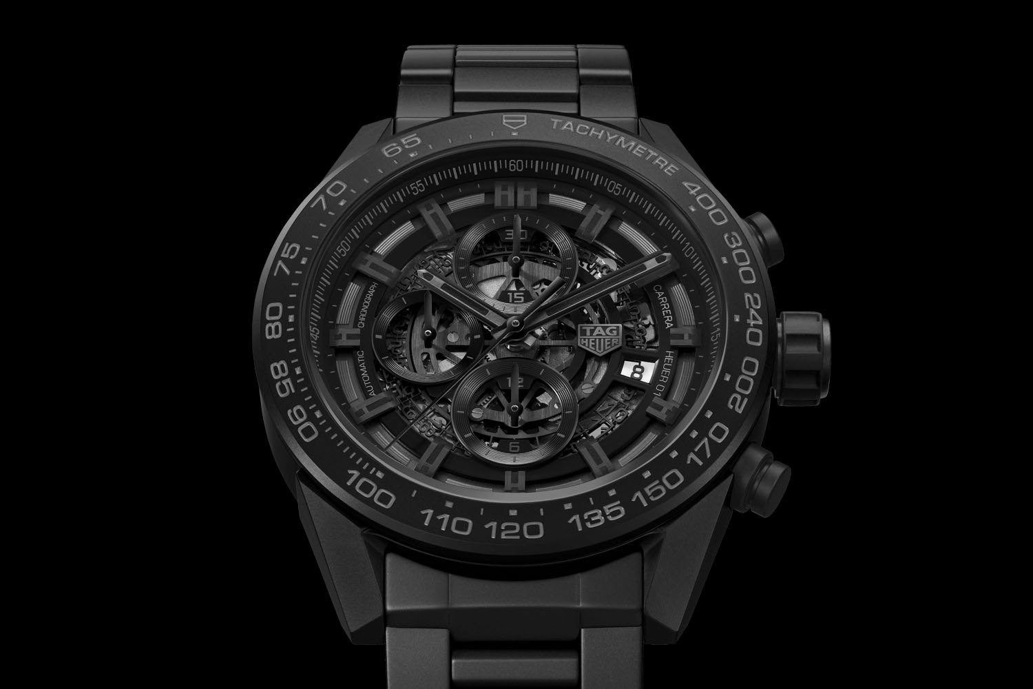 0ec894454 TAG Heuer Carrera Heuer 01 Full Black Matt Ceramic - 1 - Monochrome ...