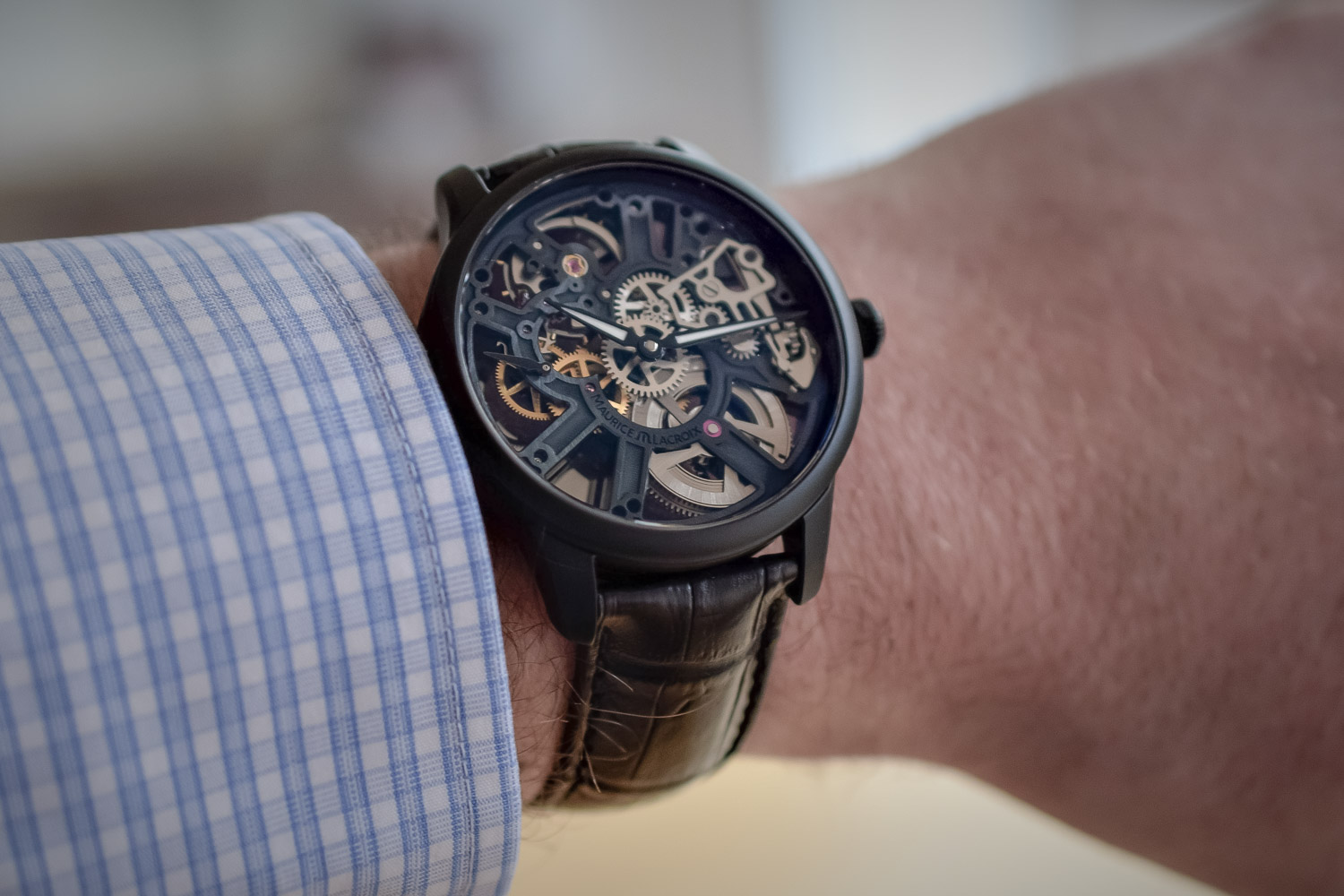 Baselworld 2017 – The Maurice Lacroix Masterpiece Skeleton Full Black (With a Cool Feature on the Back)