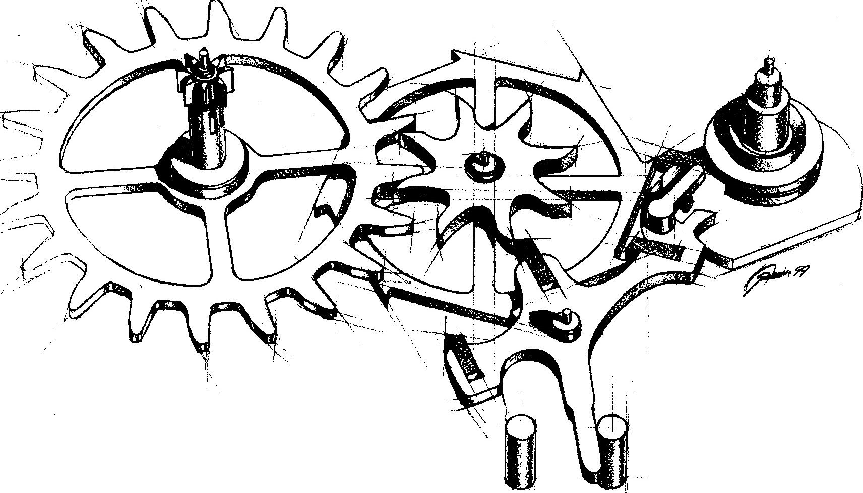 George Daniels co-axial escapement drawing