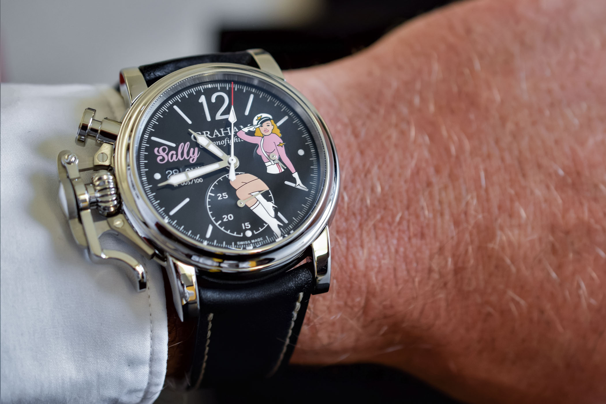 a invention inspiration george vintage swiss with graham guide series the racing five that watches collection in most india draws chronograph significant british left inventive for is from watch trigger watchmaking chronofighter men top