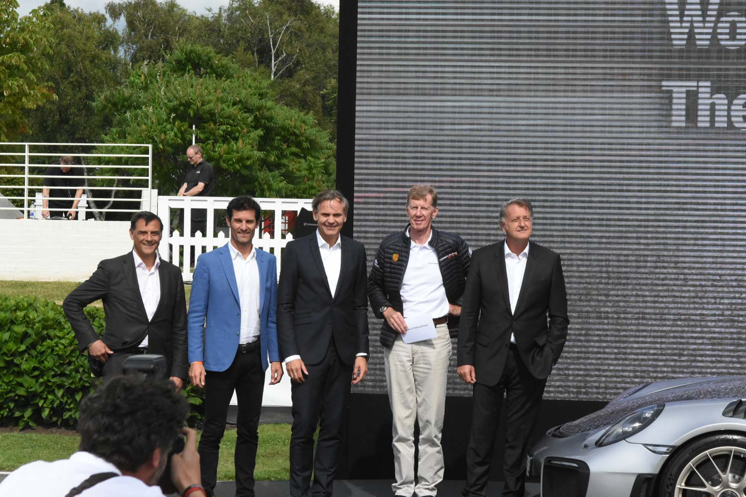unknown, Mark Webber, Oliver Blume (chairman of the executive board), Walter Röhrl, Detlev von Platen