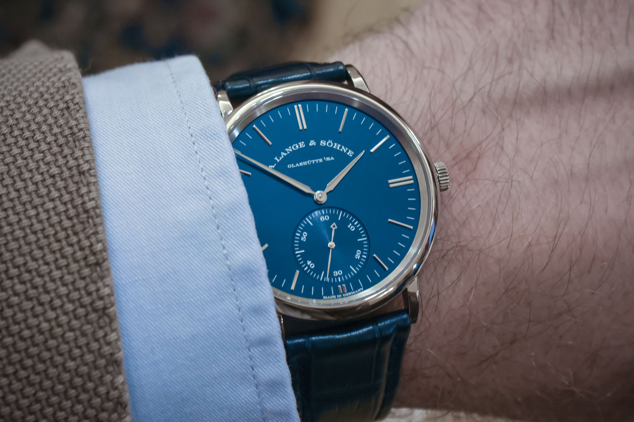 A. Lange and Sohne Saxonia Automatic Blue Dial 380.028