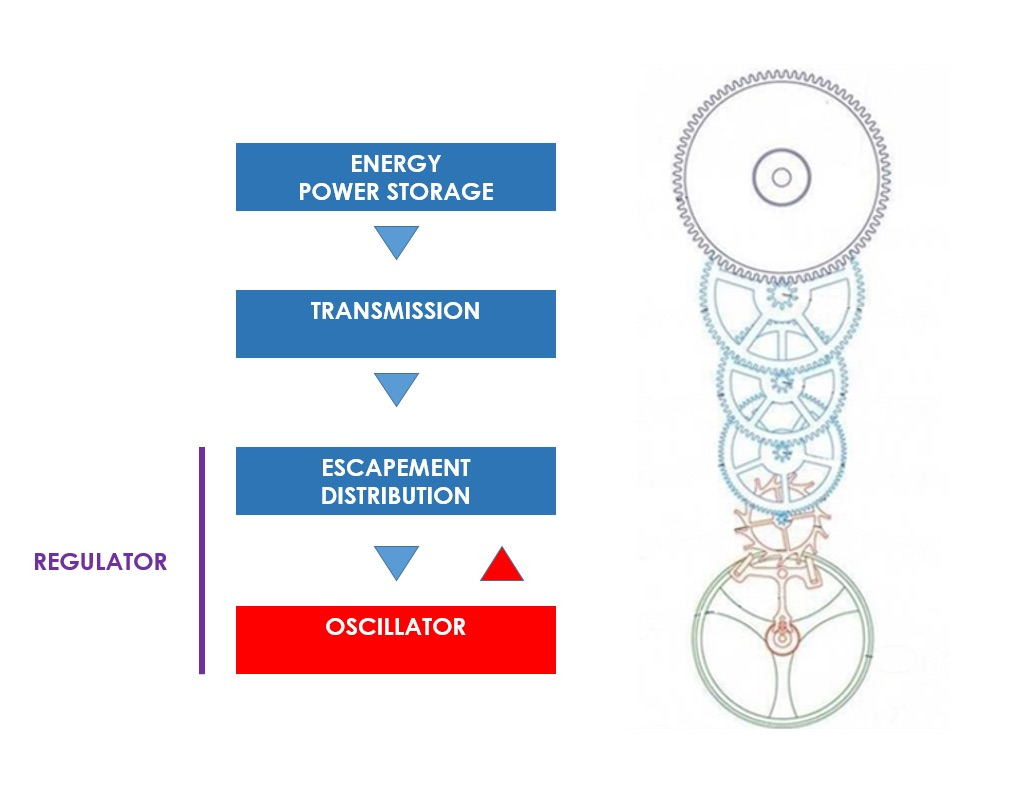 basic principle mechanical watch - chain of transmission
