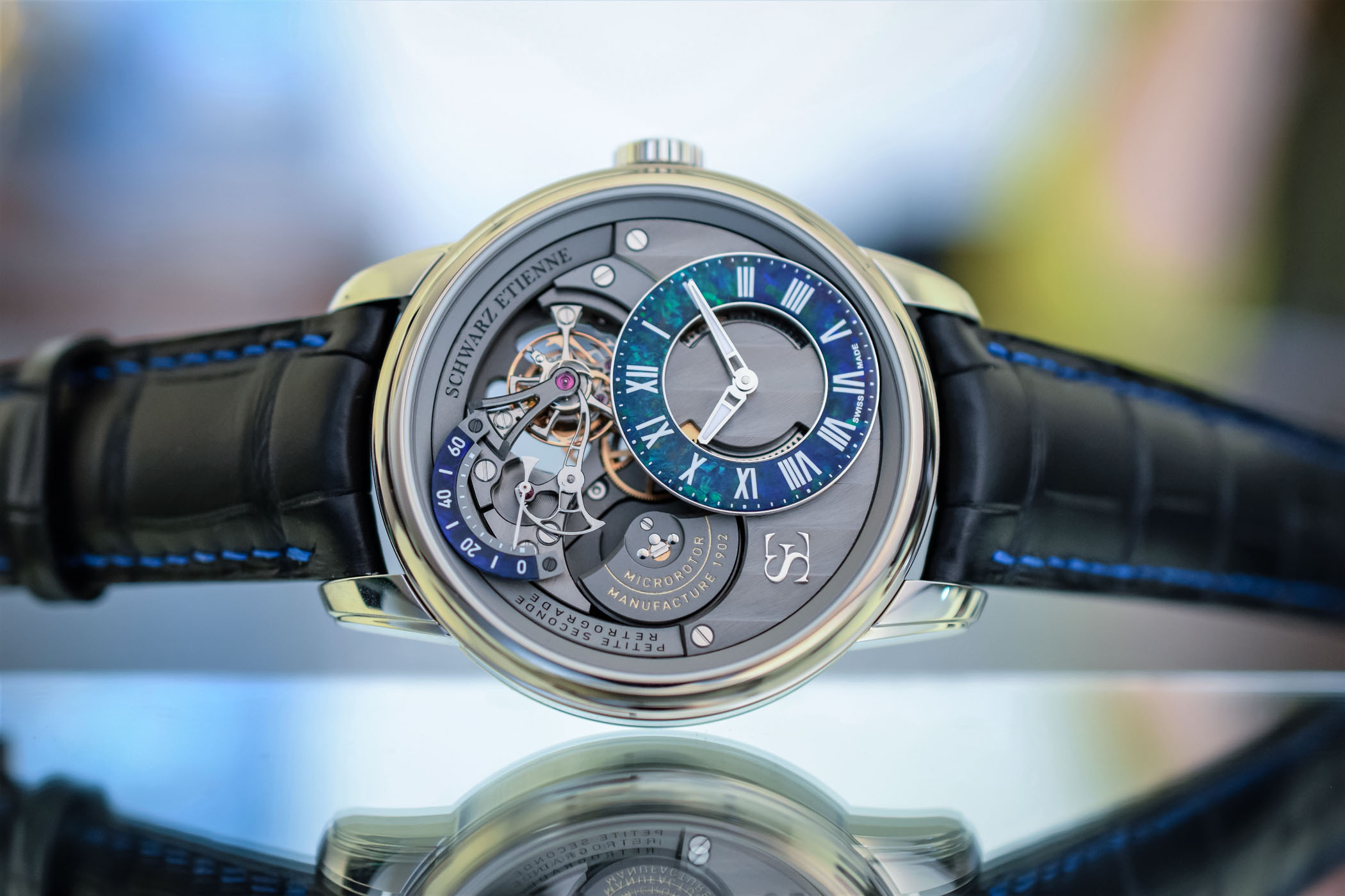 Schwarz Etienne La Chaux-de-fonds Tourbillon Petite Seconde Retrograde - White Gold blue Opal stone