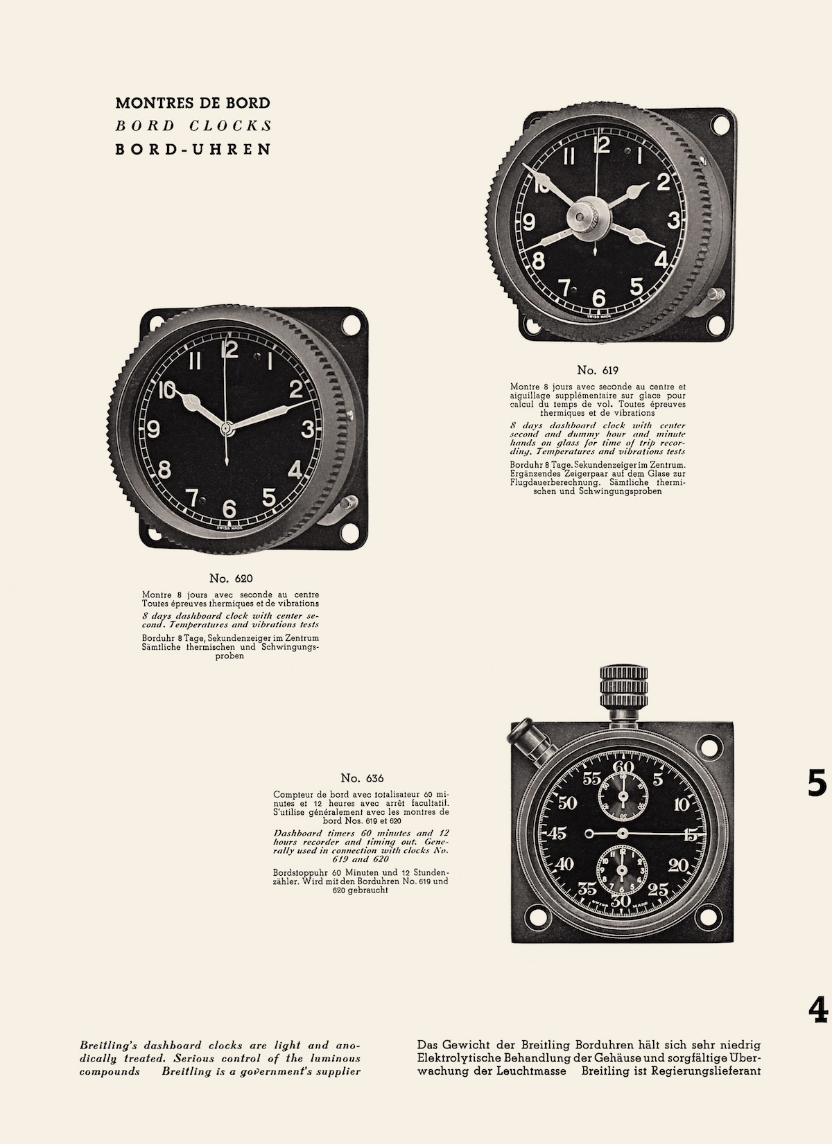 Onboard chronographs and instruments for pilots, Breitling catalog, 1941
