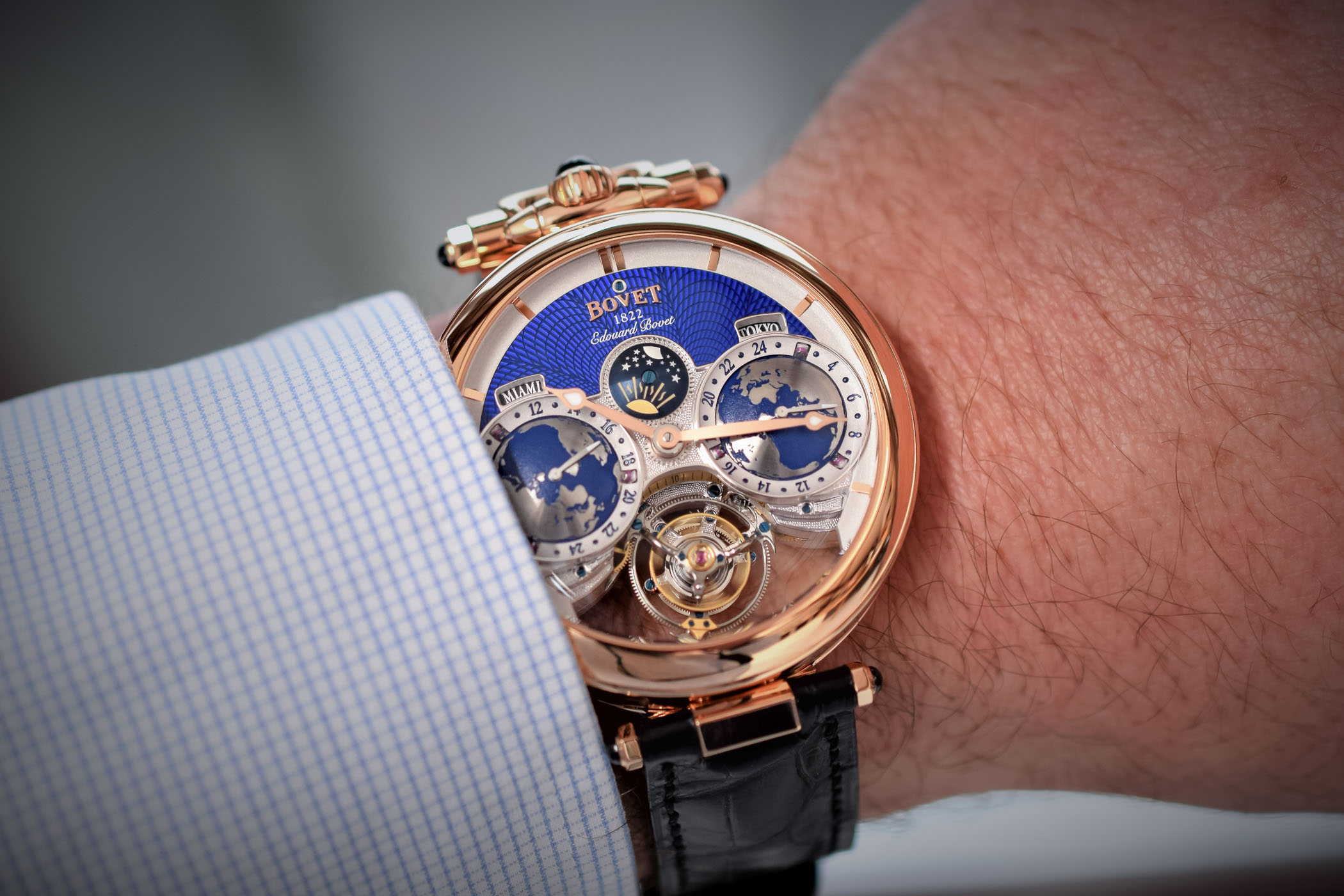 with dimier gold on hours grey minutes dial watch leather strap jumping crocodile main watches black bovet day recital retrograde rose in rectrograde