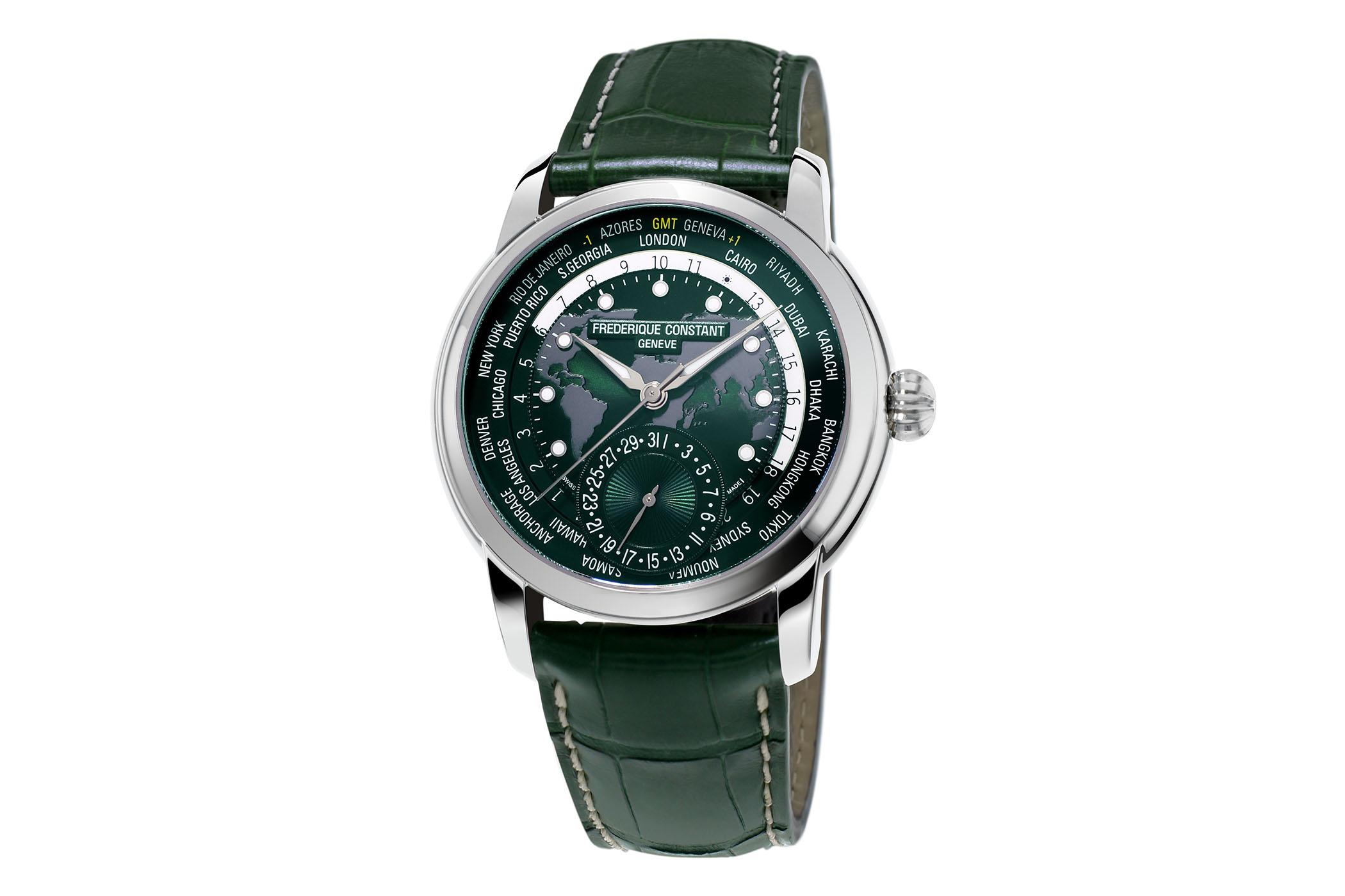 Frederique Constant Classic Worldtimer Manufacture Green Dial FC-718GRWM4H6 - Pre-Baselworld 2018