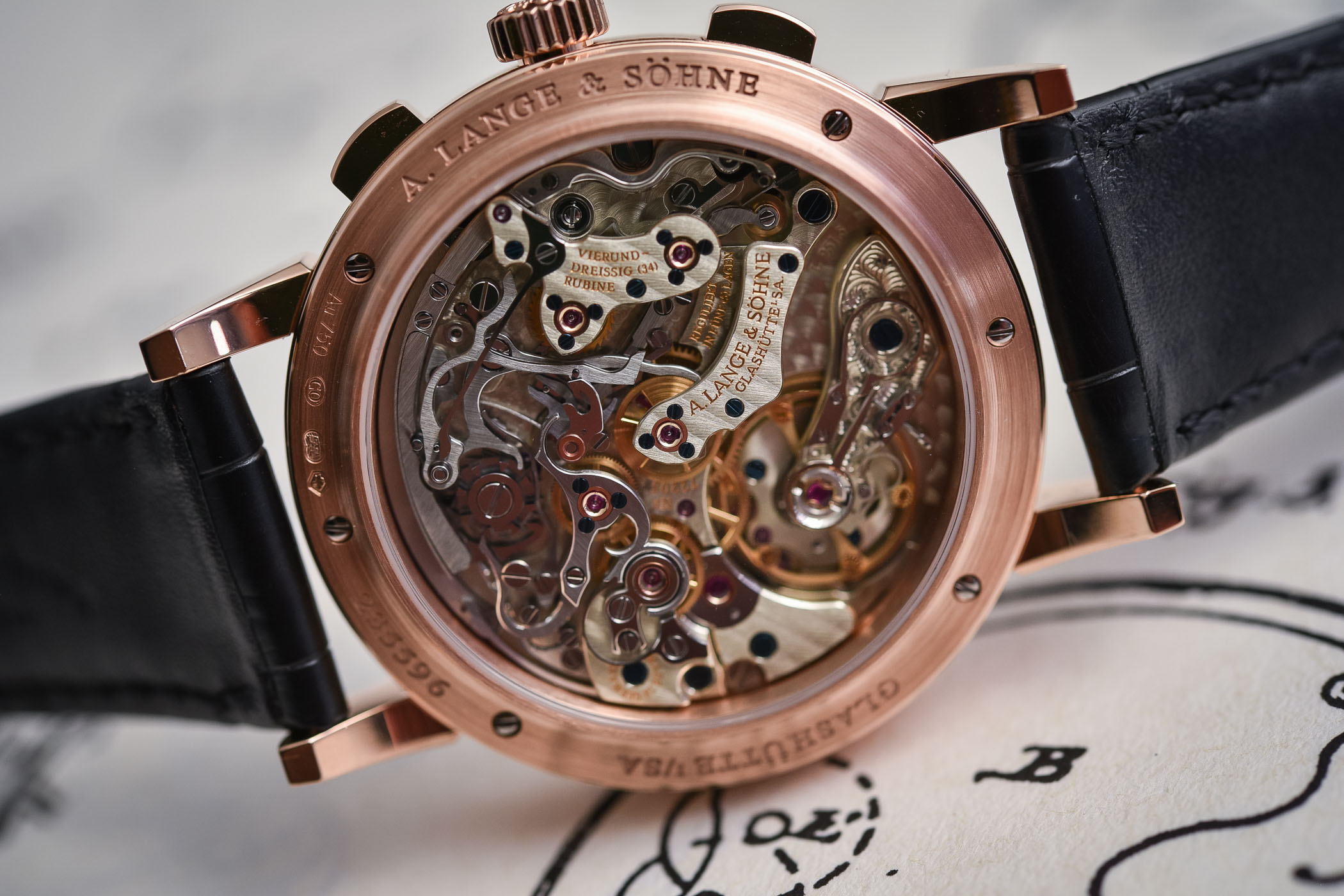 A Lange Sohne 1815 Chronograph Black Dial Rose Gold - SIHH 2018
