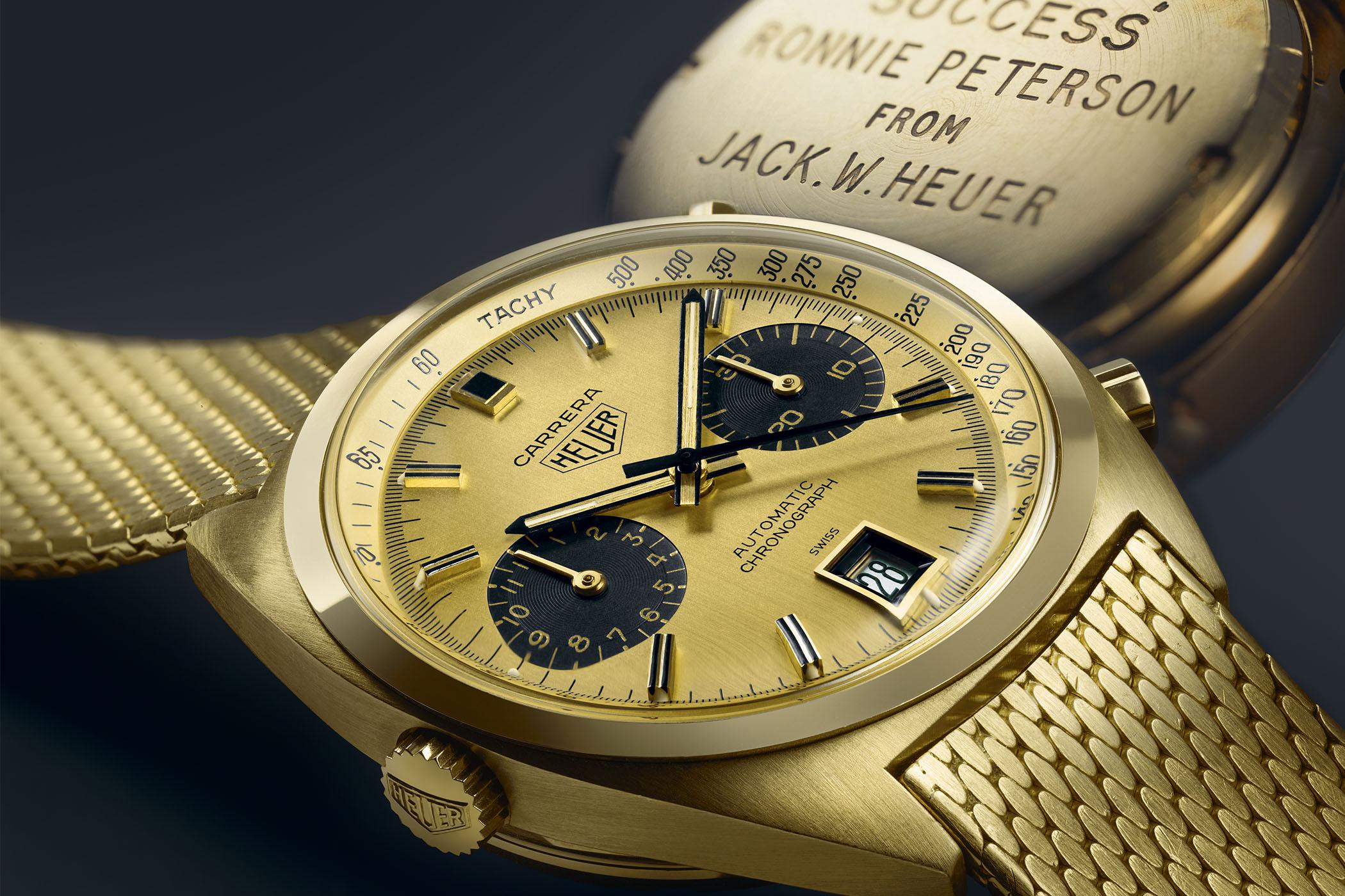 Ronnie Peterson orginal gold heuer carrera 1158 CHN