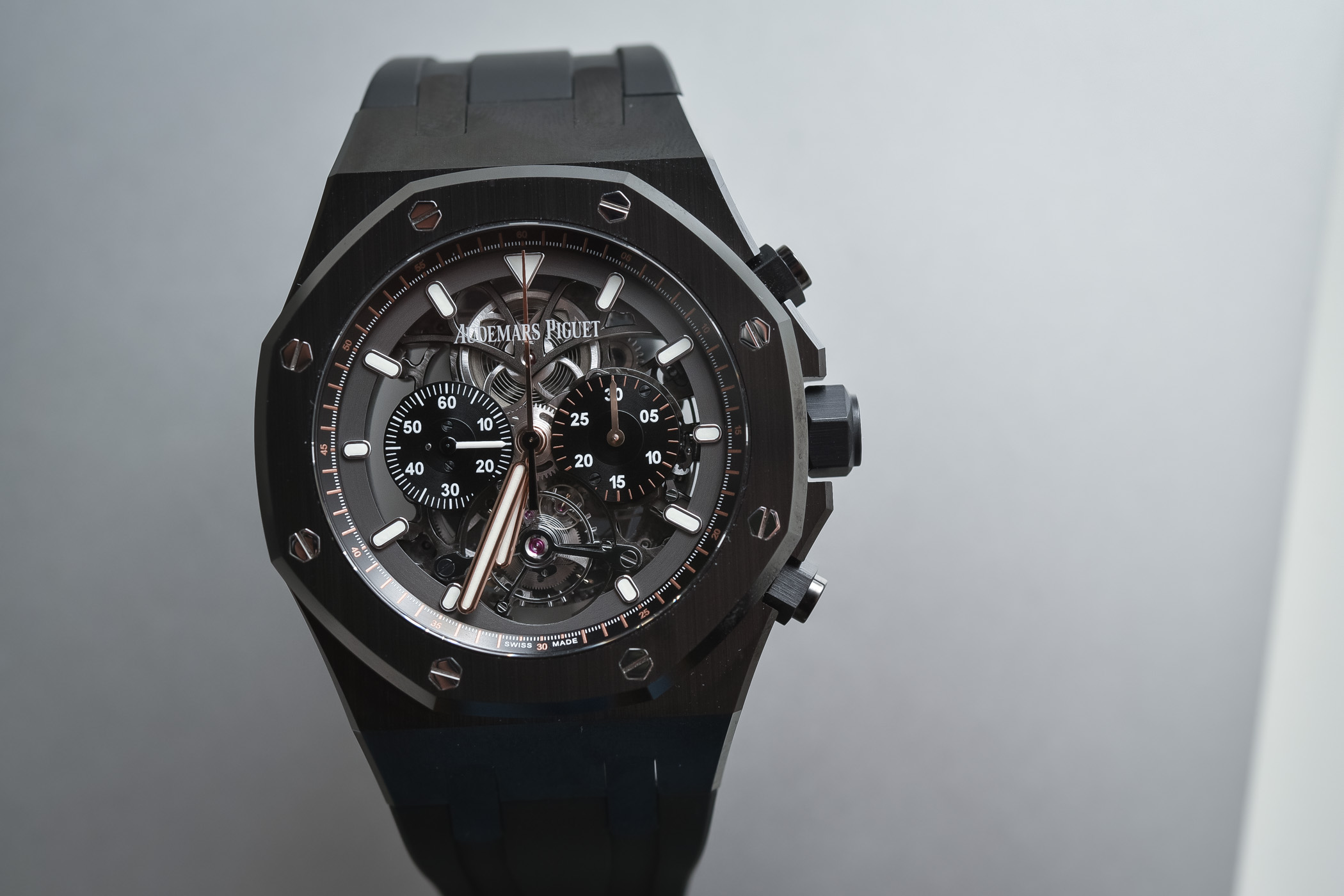 Audemars Piguet Royal Oak Tourbillon Chronograph Openworked Black Ceramic ref. 26343CE