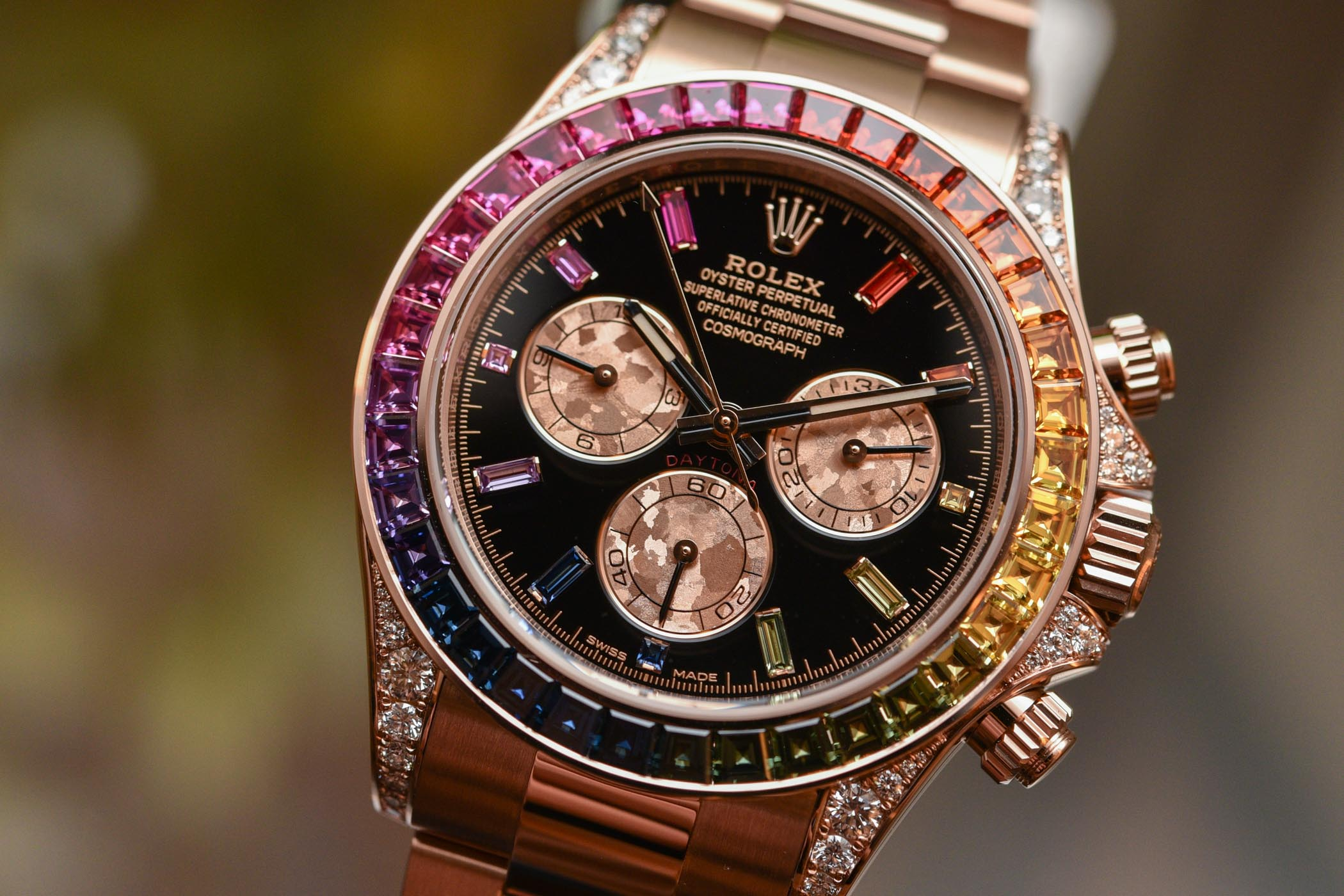 hands on rolex daytona rainbow everose gold 116595rbow. Black Bedroom Furniture Sets. Home Design Ideas