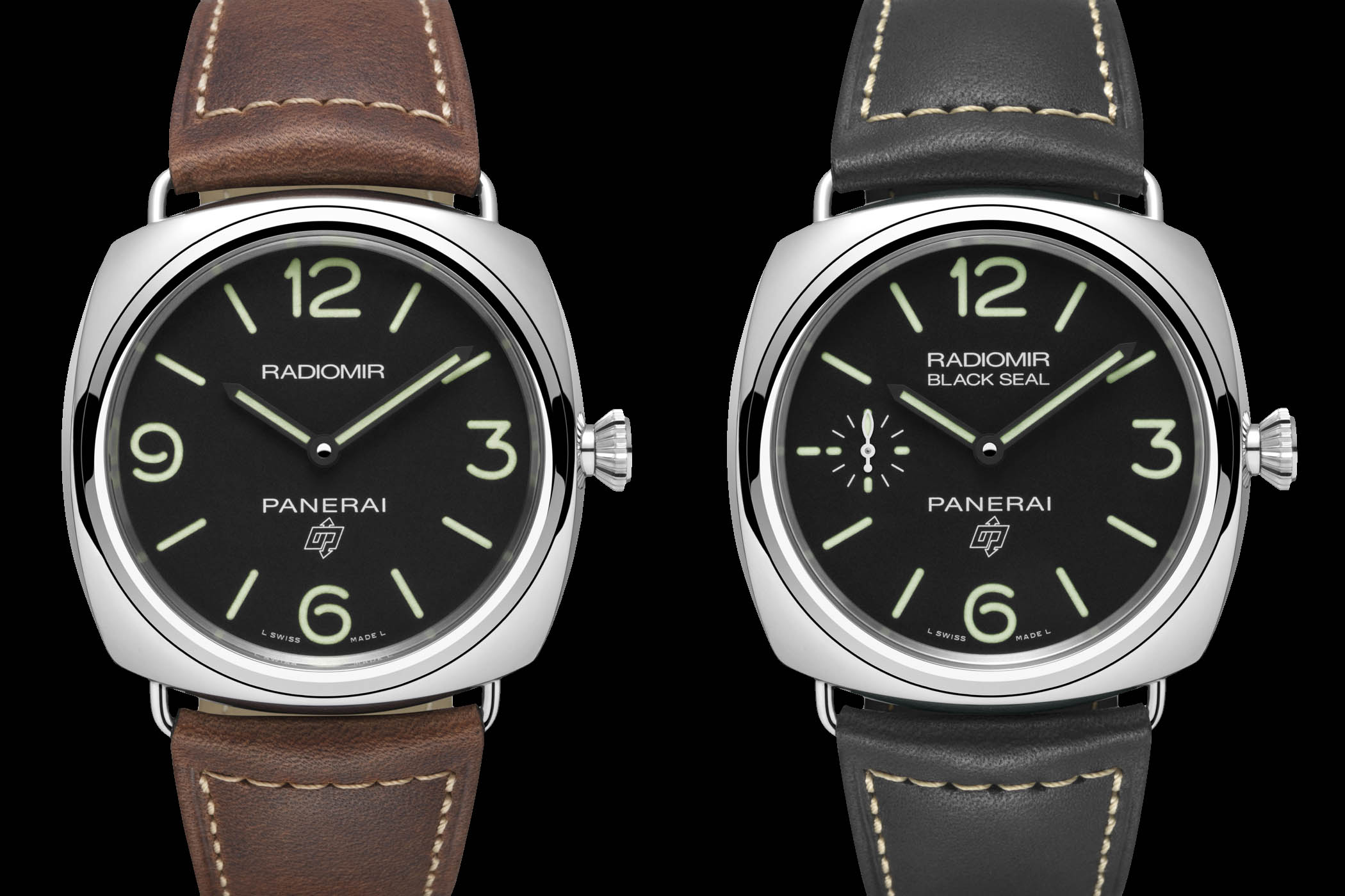 Affordable Panerai Radiomir Base 3 Days Acciaio PAM00753 and Radiomir Black Seal 3 Days Acciaio PAM00754
