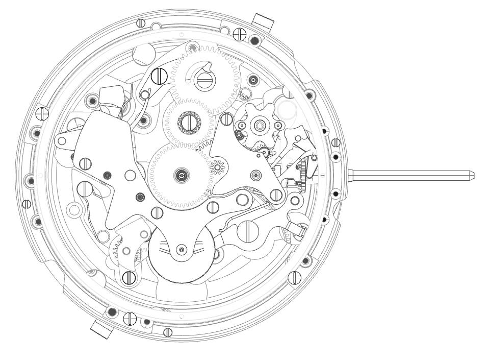 EL PRIMERO dial side without date wheel